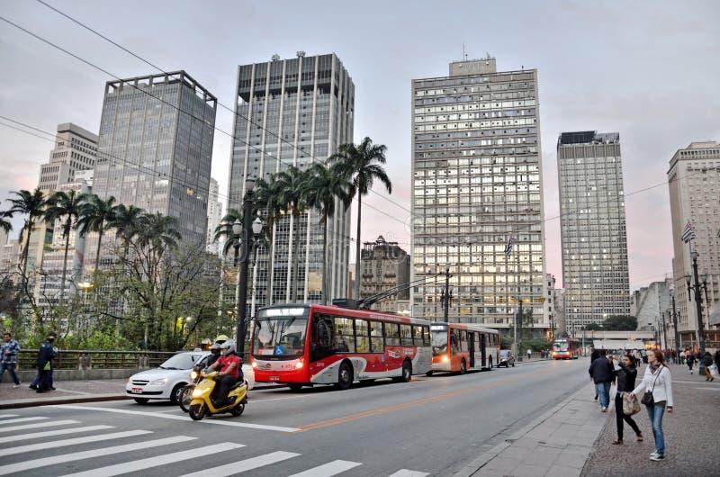 Viaduto do Cha in Sao Paulo, Brazilië stock afbeeldingen