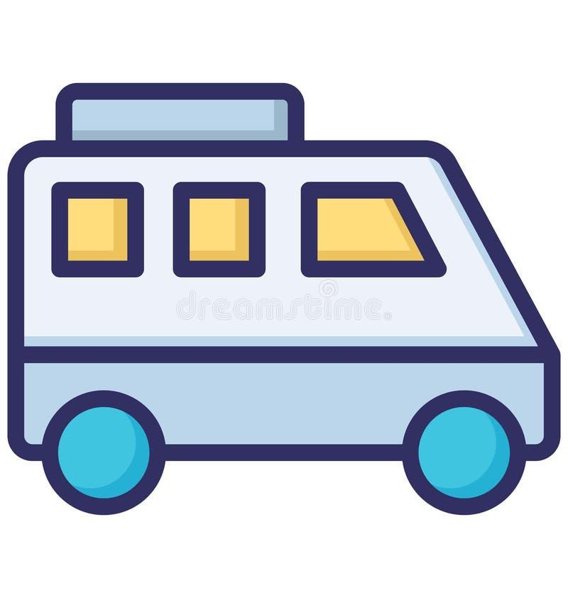 A viagem, ônibus público isolou o ícone do vetor que pode facilmente ser alterado ou editado ilustração stock