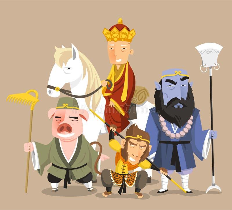 Viagem aos personagens de banda desenhada ocidentais ilustração do vetor