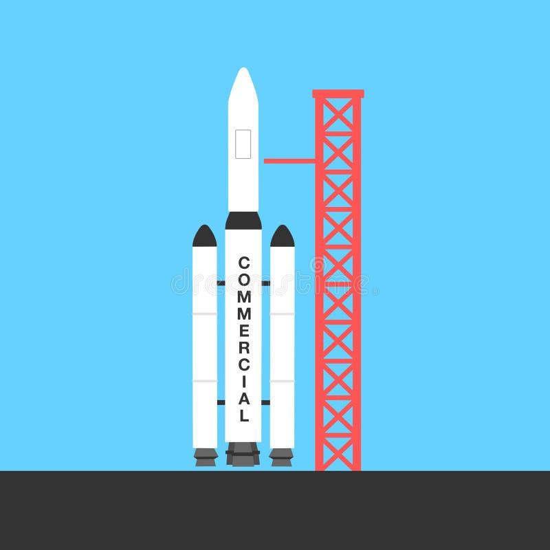 Viagem comercial e voo espacial no espaço pelo foguete de espaço ilustração royalty free