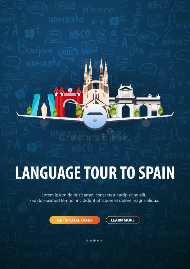 Viagem da língua, excursão, curso à Espanha Aprendendo línguas Ilustração do vetor com elementos da garatuja da mão-tração no ilustração stock