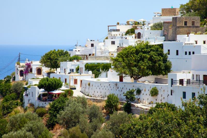 Viagem de Grécia no verão, cidade de Lindos da ilha do Rodes, a bonito fotos de stock royalty free
