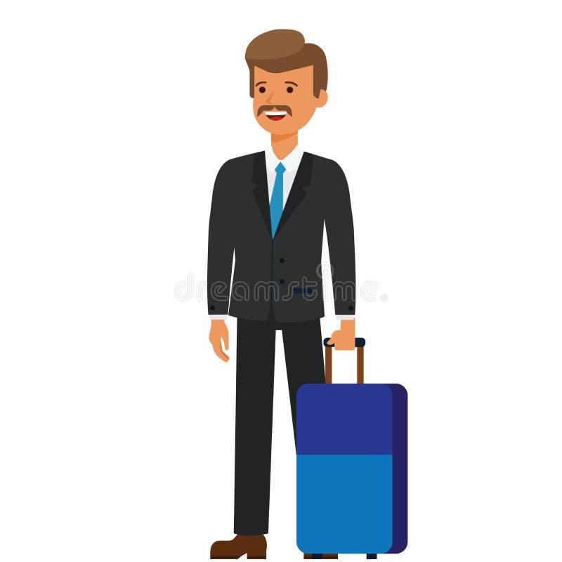 Viagem de negócios, homem de negócios com conceito liso da ilustração do vetor dos desenhos animados da bagagem no fundo branco i ilustração royalty free