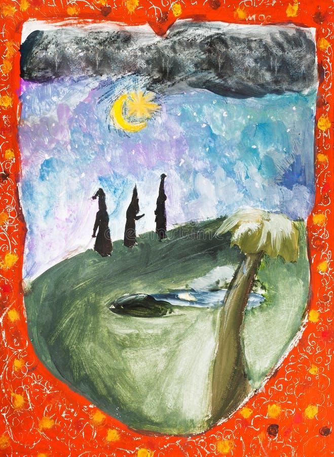 Viagem de três três Reis Magos no deserto da noite ilustração do vetor