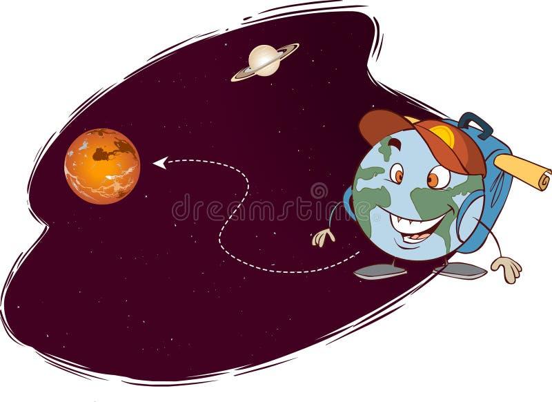 Viagem diferente dos planetas ilustração do vetor
