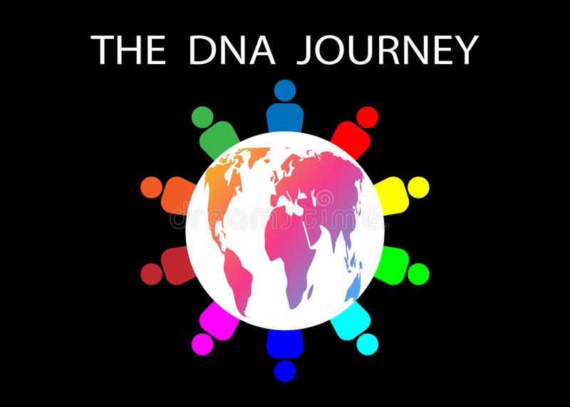 A viagem do ADN A empresa do curso pede que os povos viajem com uma viagem do ADN A diversidade é enormemente importante e todos  ilustração do vetor