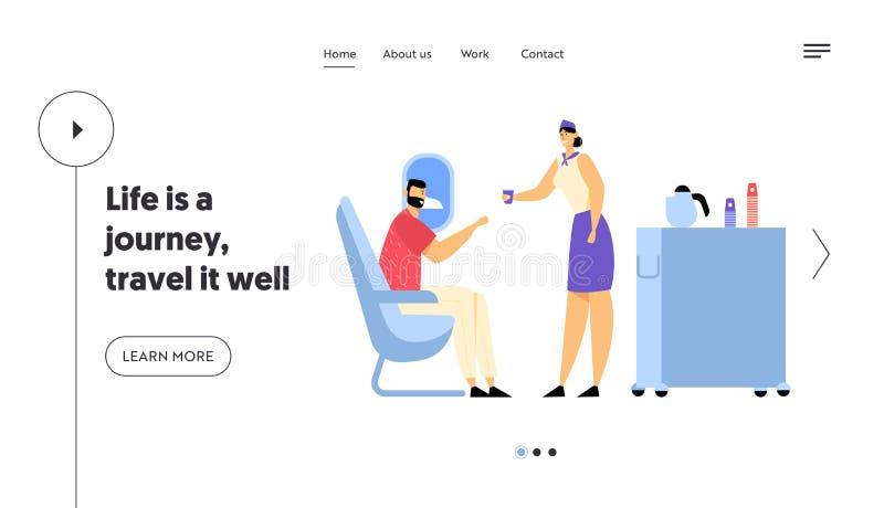 Viagem do avião, Jet Trip Website Landing Page, cabine do plano com comissária de bordo e passageiro, horas de comer na classe de ilustração stock