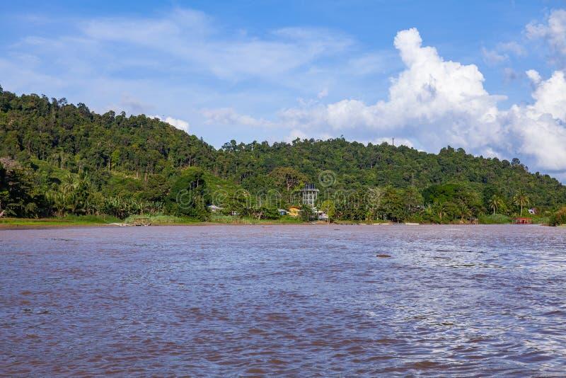 Viagem do barco ao longo do rio de Kinabatangan, em Bornéu fotos de stock