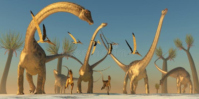 Viagem do dinossauro do Diplodocus ilustração royalty free