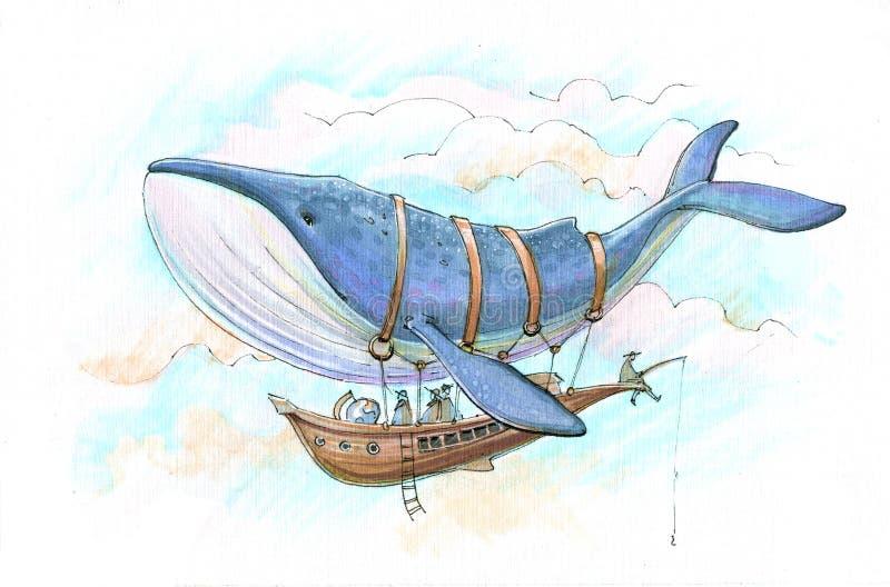 Viagem do dirigível da baleia ilustração do vetor