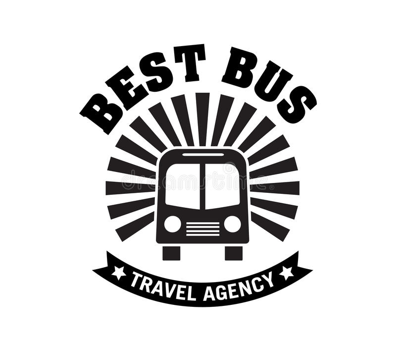 Viagem do ônibus e logotipo do crachá da excursão do trvel ilustração royalty free