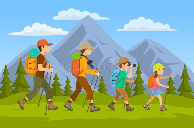 viagem dos caminhantes da família ilustração do vetor