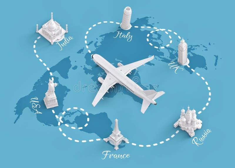 Viagem em todo o mundo pelo plano ilustração stock