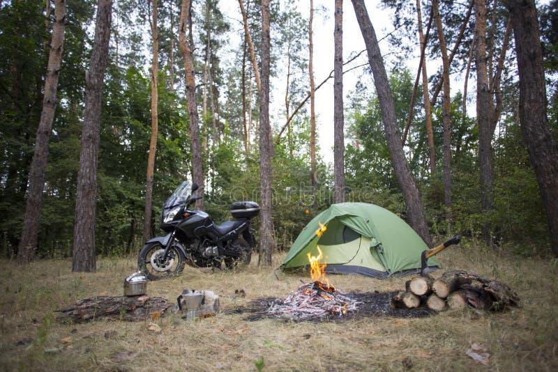 Viagem em uma motocicleta fotografia de stock