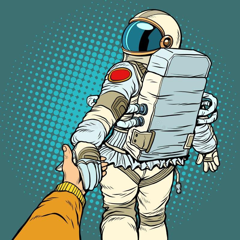 A viagem espacial do astronauta segue-me conceito, ligações da mão do amor dos pares ilustração royalty free