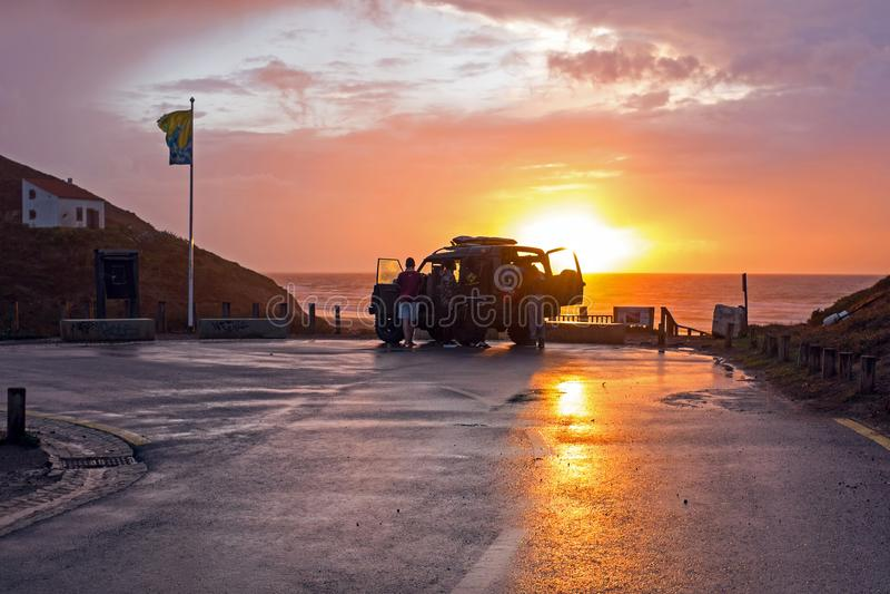 Viagem no vale Figueiras do Praia em Portugal no por do sol fotos de stock royalty free