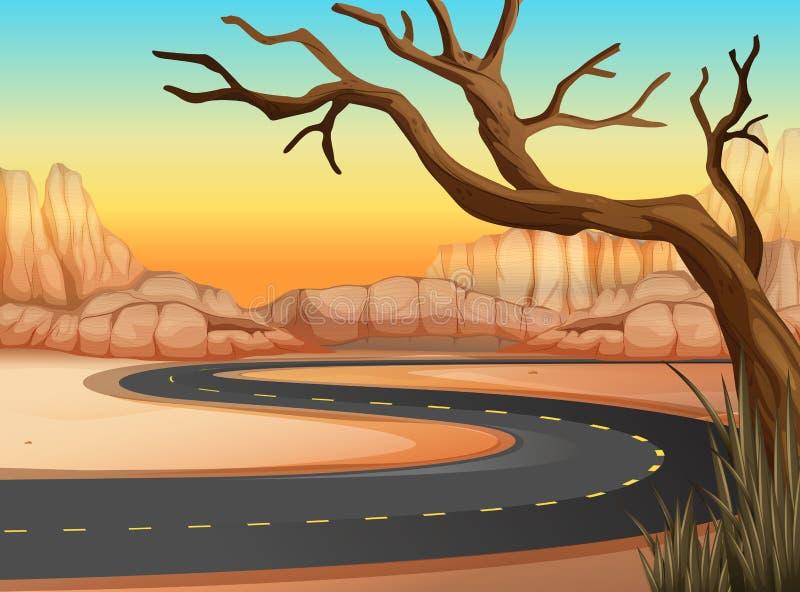 Viagem por estrada à terra ocidental ilustração do vetor