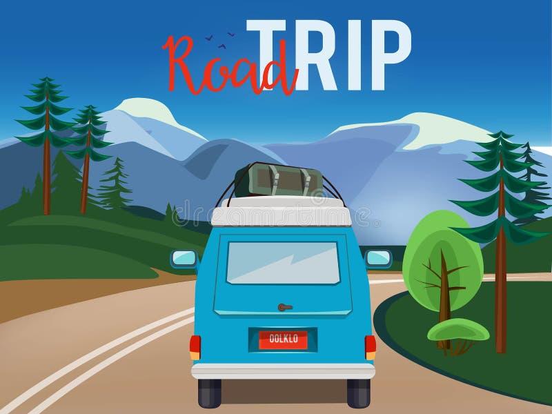 Viagem por estrada Carro movente na ilustração dos desenhos animados do vetor da aventura do campo do fundo da paisagem do verão  ilustração stock