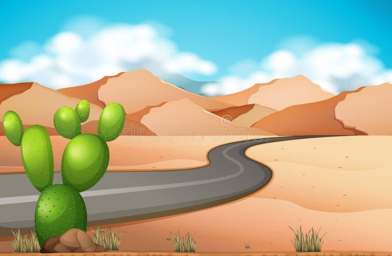 Viagem por estrada no deserto ilustração do vetor
