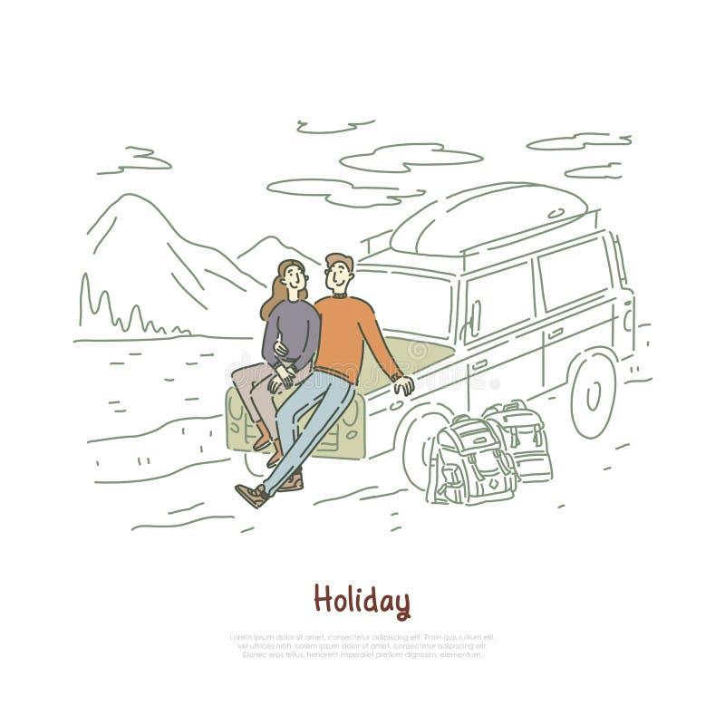 Viagem por estrada, pares no amor no feriado, férias da lua de mel, mochileiros, noivo e amiga sentando-se na bandeira da capa ilustração royalty free