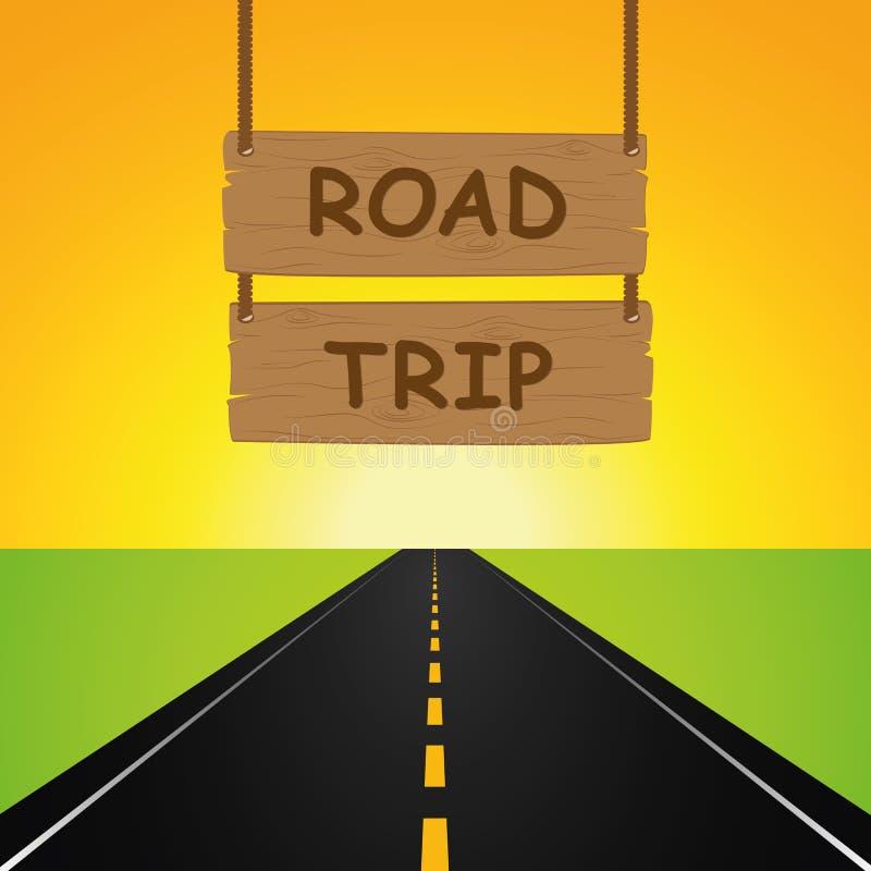 Viagem por estrada que pendura o sinal de madeira e a estrada asfaltada ilustração do vetor