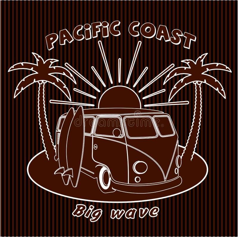 Viagem velha ao oceano, surfando, esportes do carro do crachá, placa ilustração do vetor