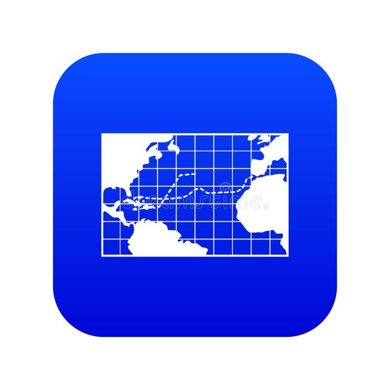 Viagens do mapa do azul digital do ícone de Columbo ilustração stock