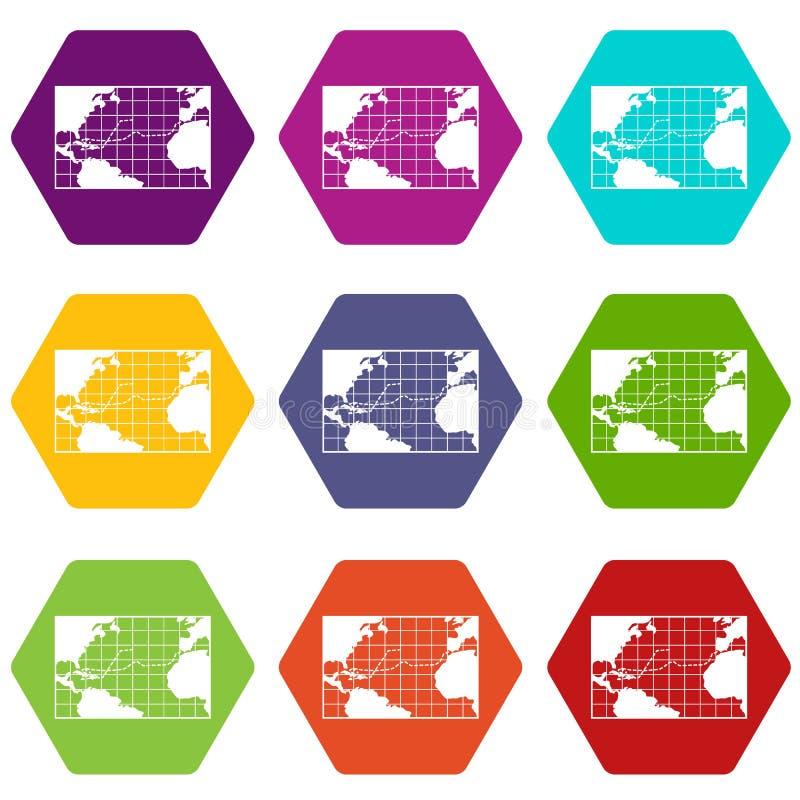 Viagens do mapa de hexahedron ajustado da cor do ícone de Columbo ilustração stock