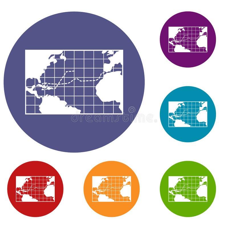 Viagens do mapa dos ícones de Columbo ajustados ilustração royalty free