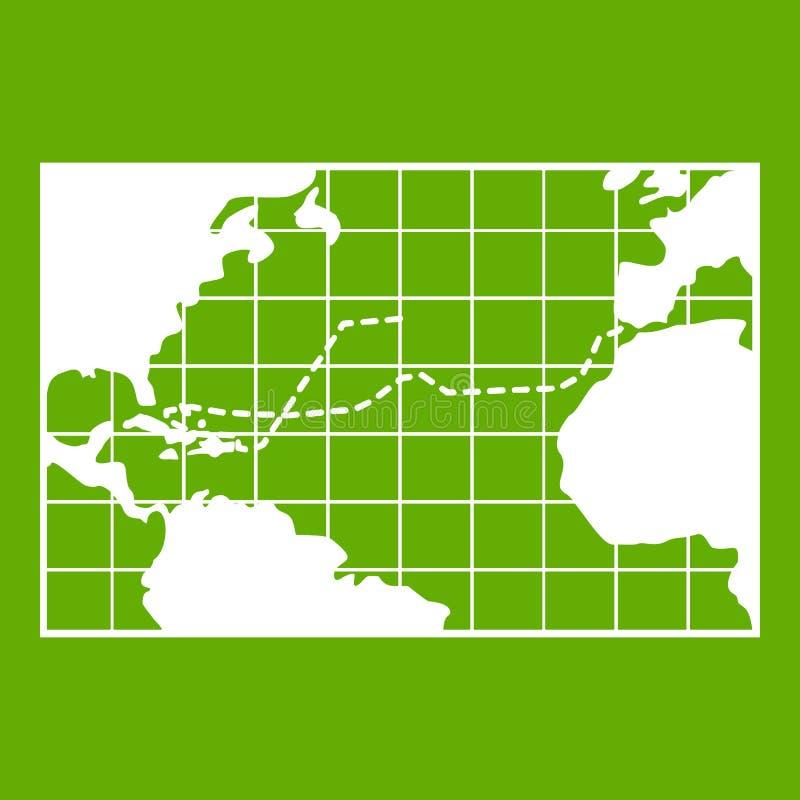 Viagens do mapa do verde do ícone de Columbo ilustração royalty free