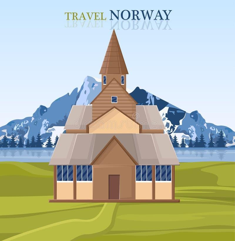 Viaggi alla cartolina della Norvegia con l'architettura ed il vettore del paesaggio della montagna illustrazione di stock