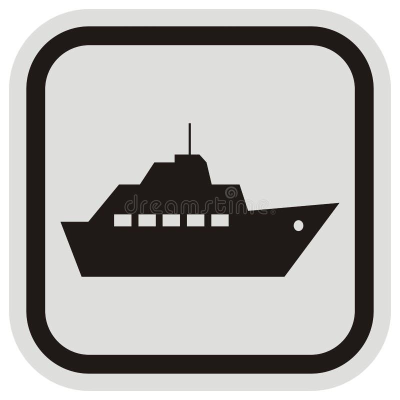 Viaggi della barca, siluetta nera del telaio nero e grigio della nave a vapore, icona di vettore illustrazione vettoriale