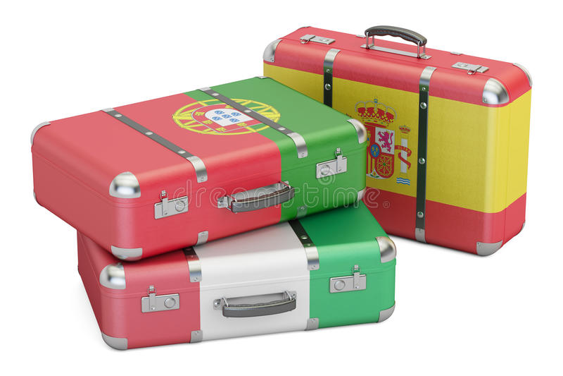 Viaggi intorno al concetto di Europa, valigie con le bandiere della Spagna, Por illustrazione di stock