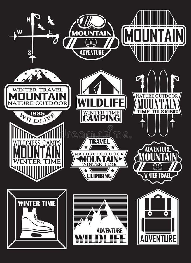 Viaggi nelle montagne, autoadesivi di progettazione sul tema delle montagne, stazioni sciistiche fotografia stock libera da diritti