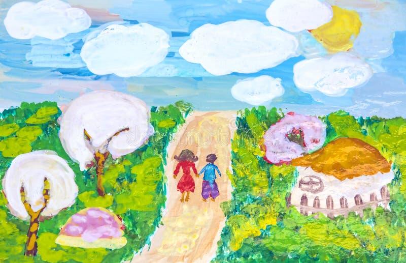 Viaggi per i gruppi di disegni dei bambini della città Harkìv fotografia stock libera da diritti