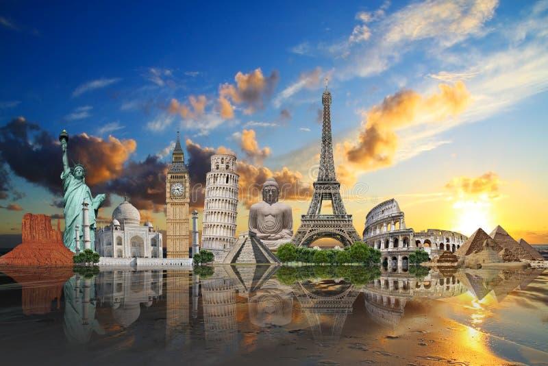 Viaggia il concetto dei monumenti del mondo royalty illustrazione gratis