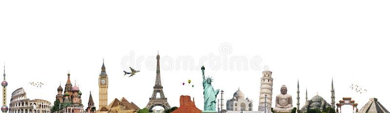 Viaggia il concetto del monumento del mondo illustrazione di stock
