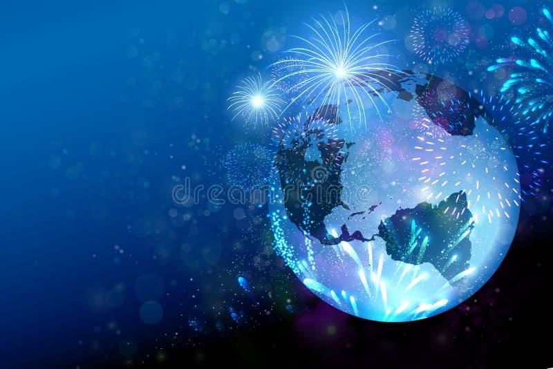 Viaggia il mondo, il festival, nuovo anno dei fuochi d'artificio sul globo della terra immagini stock libere da diritti
