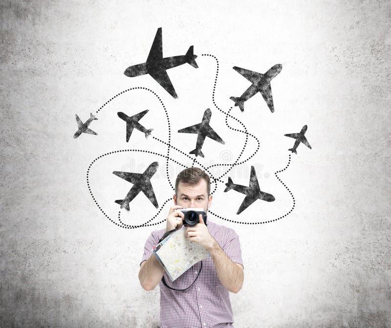 Viaggiando in aereo fotografie stock