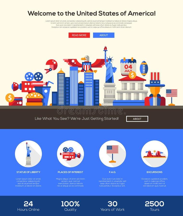 Viaggiando all'insegna di intestazione del sito Web di U.S.A. con gli elementi del webdesign illustrazione di stock