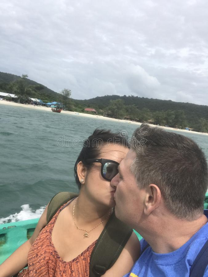 Viaggiando all'isola in Cambogia immagine stock libera da diritti
