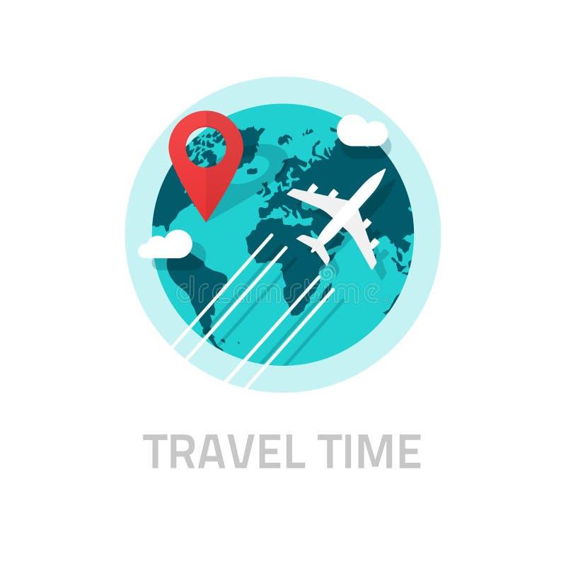 Viaggiando intorno al mondo dal vettore piano, logo di viaggio e di viaggio royalty illustrazione gratis