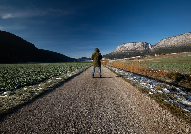 Viaggiatore che cammina su una strada nei campi immagini stock libere da diritti