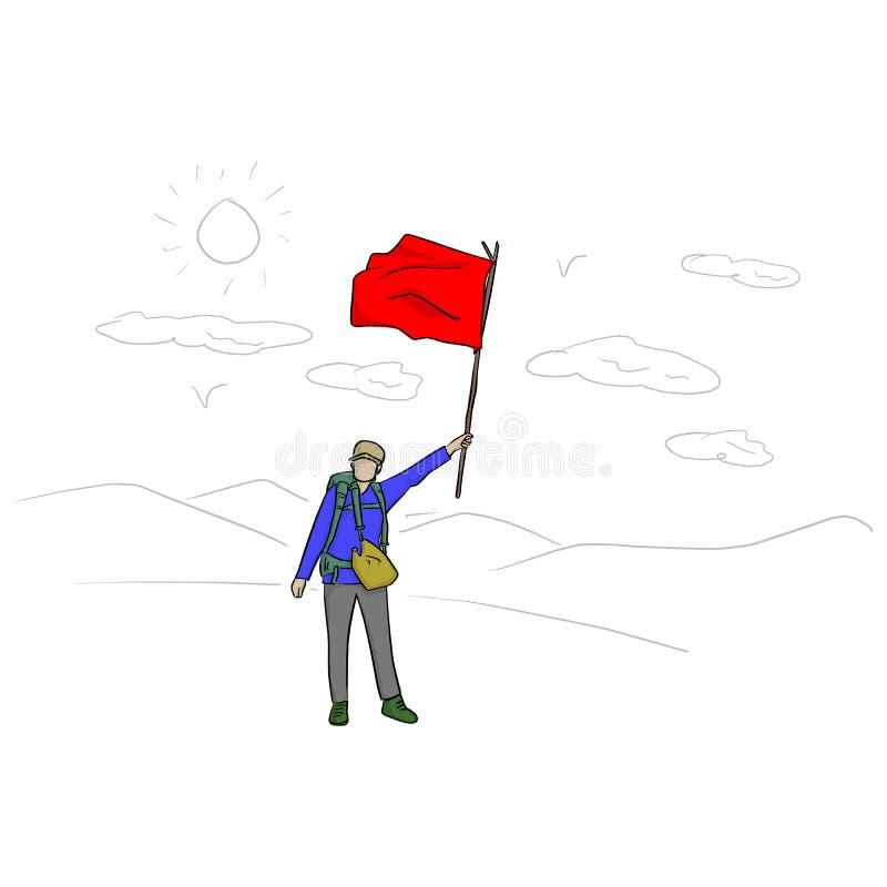 Viaggiatore con zaino e sacco a pelo con l'illustrazione di vettore della bandiera rossa con le linee nere isolate su fondo bianc illustrazione vettoriale