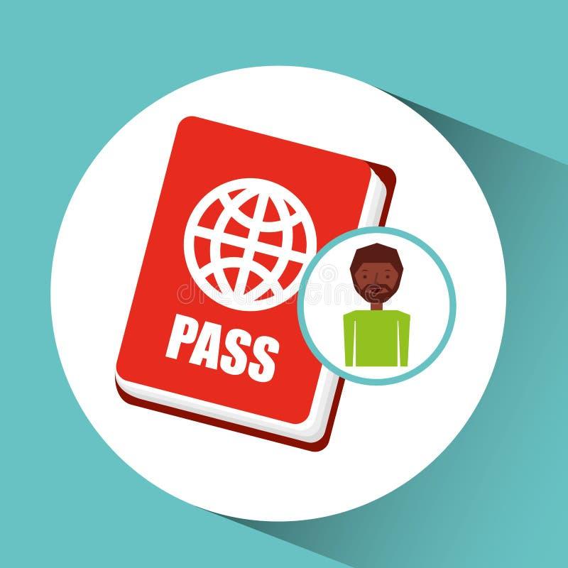 Viaggiatore del turista del passaporto del tipo di afro illustrazione vettoriale
