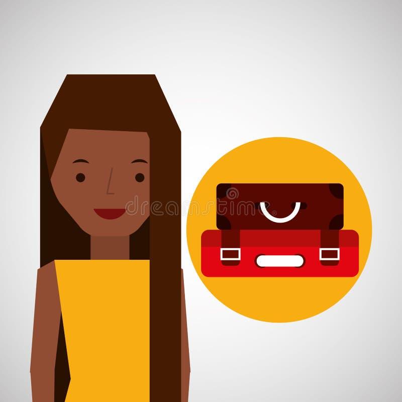 Viaggiatore del turista delle cartelle della ragazza di afro illustrazione vettoriale