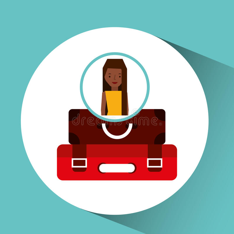 Viaggiatore del turista delle cartelle della ragazza di afro royalty illustrazione gratis