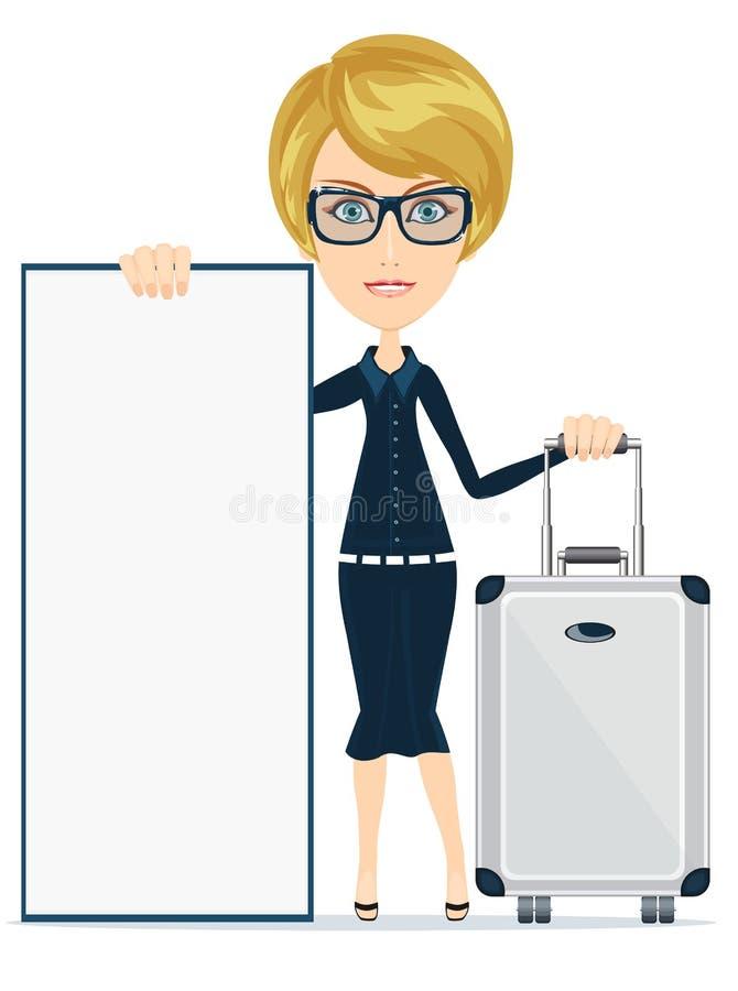 Viaggiatore della donna con la valigia e spazio per arte di carta del contenuto e del testo, vettore, insegna, carta, manifesto, illustrazione di stock