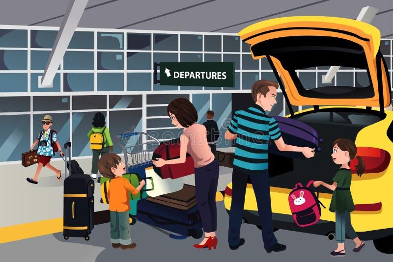 Viaggiatore della famiglia fuori dell'aeroporto illustrazione vettoriale