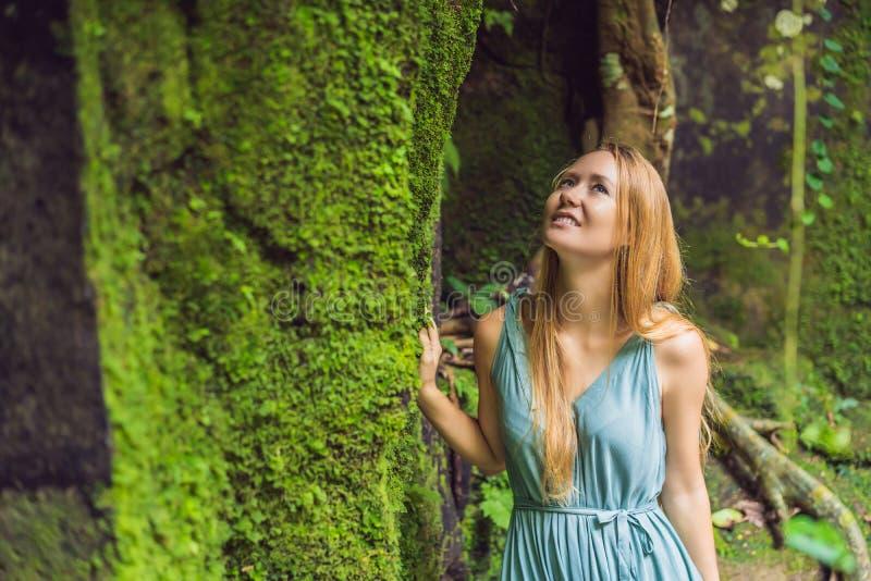 Viaggiatore della giovane donna in un giardino di balinese invaso con muschio Viaggio al concetto di Bali fotografia stock libera da diritti